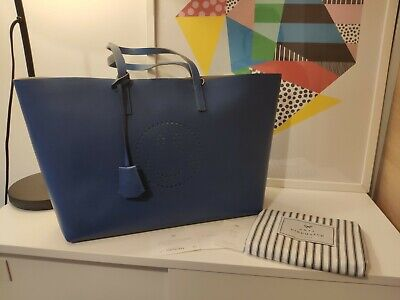 £425 • Buy Nwt Anya Hindmarch Smiley Leather Ebury Tote Blue £995 Made In Italy