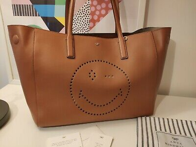 £495 • Buy Nwt Anya Hindmarch Brown Smiley Ebury Tote Leather Handbag £1495 Made In Italy