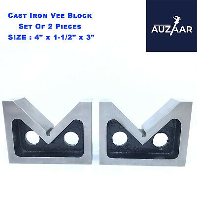 £32.99 • Buy Cast Iron VEE BLOCKS Set Of 2 Pcs 100mm 4  Inch Precision V Block Without Clamp
