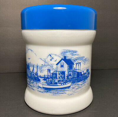 $10 • Buy Opaline Milk Glass Cigar Tobacco Canister Nautical Fishing Village Blue & White