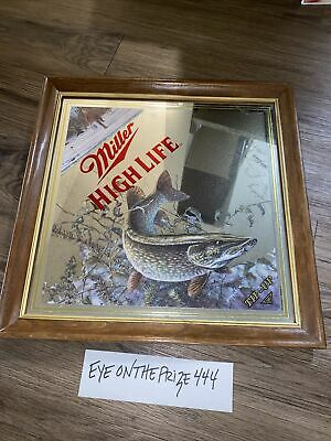 """$99.99 • Buy 1994 Miller High Life Beer """"Tip-Up"""" Diamond Mirror Sign Northern Pike Fish 8226"""