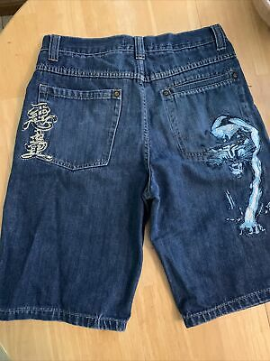 $14.95 • Buy PACO Jean Shorts Size 34 Mens Embroidered Blue Denim Distressed 90s Vtg