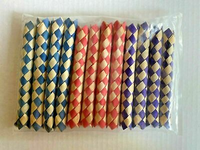 £10.87 • Buy Lot Of 12 Vintage Bamboo Chinese Finger Traps Pink, Blue, & Red New Prank#5