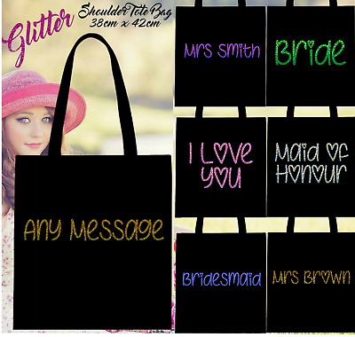 £5.39 • Buy 100% Cotton Personalised Hologram Glitter Shoulder Tote Bags