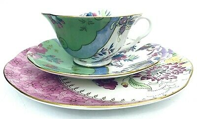 £86.25 • Buy WedgwoodButterfly Bloom Cup & Saucer Trio Pink Green Gilt Trim GIFT Teacup Set