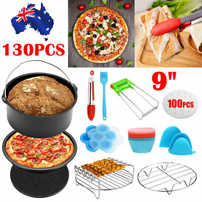 AU32.85 • Buy 9 Inch Air Fryer Accessories Set Chips Baking Basket Rack For Phillip Pizza Tray