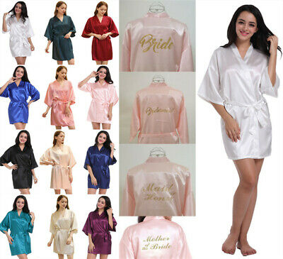 £9.02 • Buy UK Silk Satin Personalized Wedding Bridesmaid Robe Bride Mother Dressing Gowns
