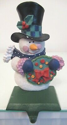 £9 • Buy Cute Snowman With Wreath Christmas Stocking Holder - Resin With Cast Iron Base