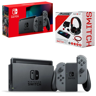 AU504.95 • Buy Nintendo Switch Grey Joy-Con Console With Playmax Essential Pack Bundle NEW
