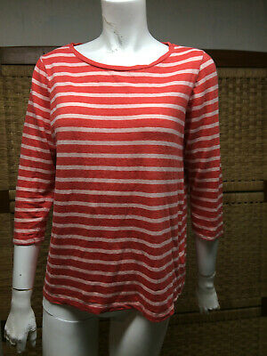 $34 • Buy Majestic Filatures Red Coral Stripe 94% Linen Stretch Delux Teeshirt Sz 2