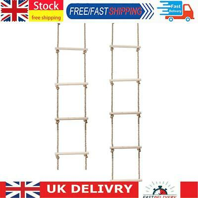 £17.54 • Buy Wooden Rope Ladder Multi Rungs Children Climbing Toy Safe Sports Rope Swing