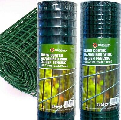 £22.99 • Buy PVC Coated Wire Mesh Fencing 10M X 0.9M Height Green Galvanised Garden Fence
