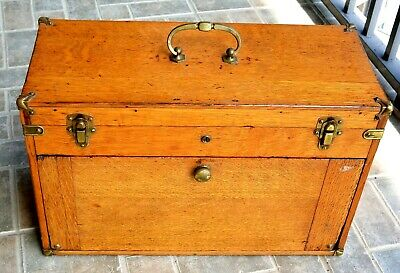 $300 • Buy Vintage Oak Machinist Tool Box Or Collectibles Storage