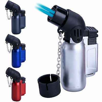£3.51 • Buy LIGHTER Turbo ANGLED WINDPROOF TWIN BLUE JET FLAME CHAINED CAP REFILLABLE UK