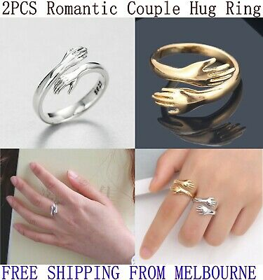 AU4.95 • Buy 2PCS Couple Hug Ring Adjustable Open Rings 925 Sterling Silver Silver Or Gold