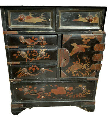 £48 • Buy Antique Japanese Lacquered Table Cabinet Six Drawers,Foliate Decoration