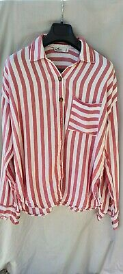AU15 • Buy Women's Hollister Long Sleeve Red Stripe Button Up Shirt Size S