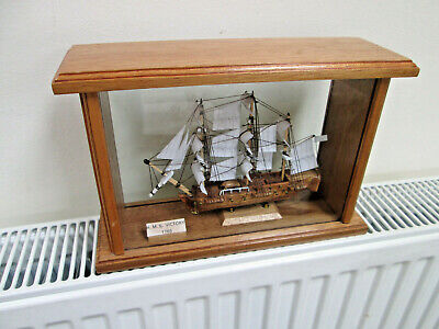 £39.95 • Buy  Stunning Model Ship In Wooden Glass Case  HMS VICTORY 1765  Maritime, Sailing.