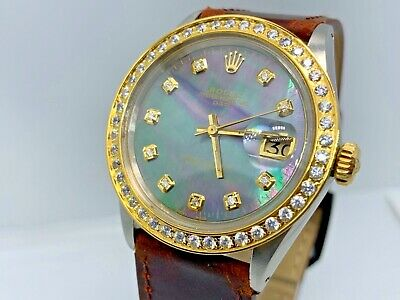 $4700 • Buy Rolex Oyster Perpetual Date Men's Black Mother Of Pearl Diamond Dial $8500