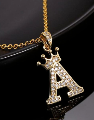 £4.99 • Buy Gold Crown Rhinestone Crystal English Alphabet Initial Letter Necklace  Uk