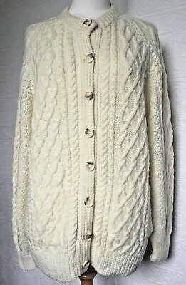£49.99 • Buy Pure Wool Aran Hand Knitted Cardigan With Round Crew Collar Size L