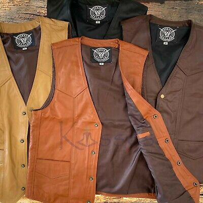$31.98 • Buy NEW Soft Leather Vest Genuine Cowhide Outback Biker Western Cowboy Mexico Unisex