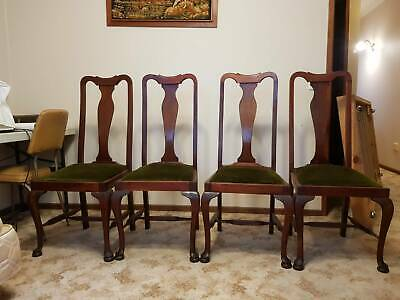 AU40 • Buy Antique Edwardian Dining Chairs X 4 With Green Velvet Fabric.  As Is.