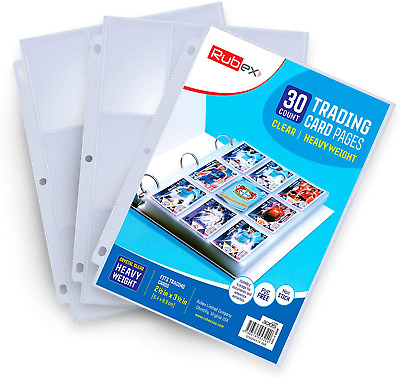 £6.22 • Buy RUBEX 30 Pack 9 Pocket Trading Card Protector Sleeves Pages. Clear Heavyweight T