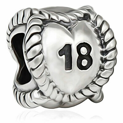 £6.95 • Buy 18 Heart Charm Bead 925 Silver - 18th Happy Birthday Gift For Sister Daughter