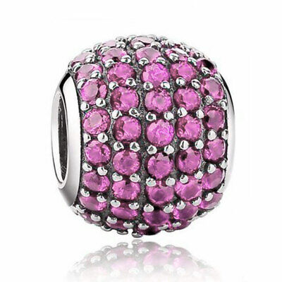£6.95 • Buy Pink Pave Crystal Charm - 925 Silver - Mum Sister Daughter Nan I Love You Gift