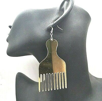 £3.29 • Buy Large Tribal African Gold Mirror Acrylic & Brown Afro Comb Fashion Earrings