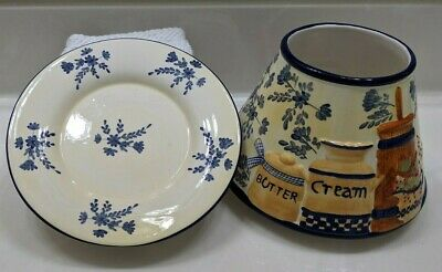 £39.27 • Buy Yankee Candle~2 Set~Butter & Cream Lg Shade & Plate NEW~HTF~~VERY NICE!!