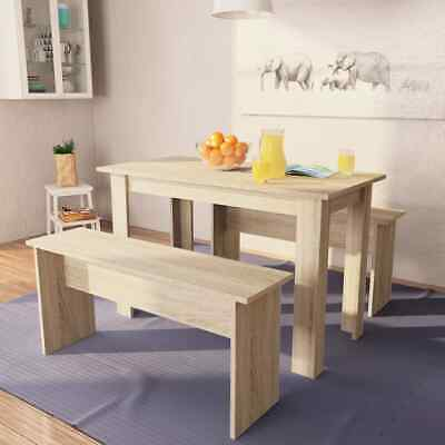 AU211.99 • Buy  Dining Table And Benches 3 Pieces Chipboard Dining Room Set Oak/White