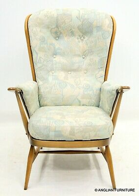 £437 • Buy Ercol Windsor Evergreen Armchair Floral Upholstery Light Finish FREE UK Delivery