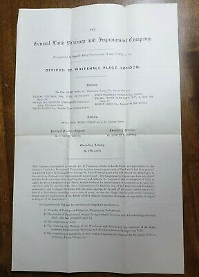£9.99 • Buy 1885 General Land Drainage & Improvement Co. Statement Of Terms. 37cm X 24.5cm