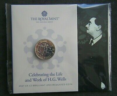 £11.99 • Buy 2021 H G Wells £2 Two Pound Coin Brilliant Uncirculated Pack - In Stock