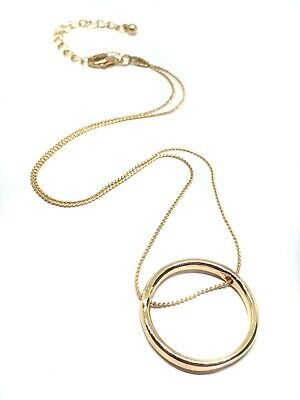£4.95 • Buy Ring Pendant Karma Circle Gold Plated Thread Love Eternity Love Chain Necklace