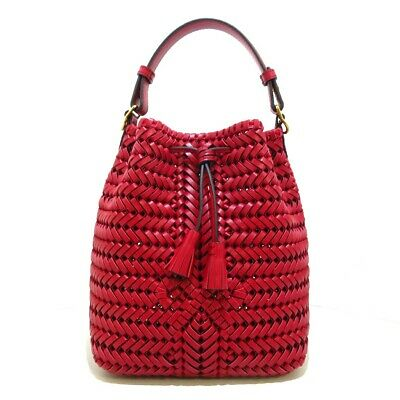 £412.13 • Buy Auth Anya Hindmarch Neeson Drawstring Bag Red Leather Womens