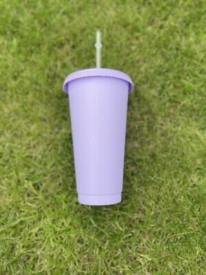 £4 • Buy Matt Pastel Lilac 24oz Cold Cup - With Glossy Lid And Straw
