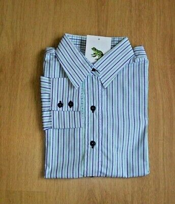 £10 • Buy Ladies Grenouille Cotton Long Sleeve Shirt.  Blue And Green Stripe