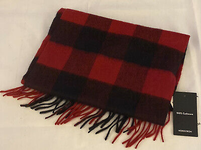 """$22.95 • Buy Nordstrom 100% Cashmere Red Rio Buffalo Checkered Scarf $89 Nwt 12"""" X 68"""""""