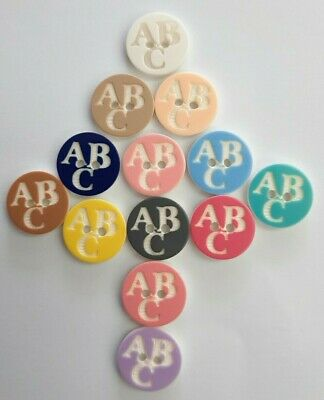 £2.99 • Buy Novelty Buttons ABC 14mm 2 Hole Button -13 Colours - Baby /children 10% Multibuy