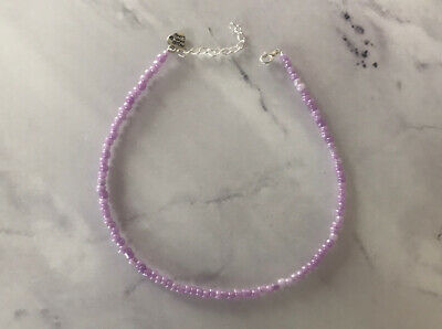 £2.85 • Buy Lilac Purple Pearl Choker Necklace Seed Beads Summer