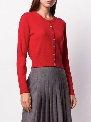 £106.62 • Buy SOLD OUT $290 NWT N. PEAL Red Cropped Mongolian Cashmere Cardigan XS