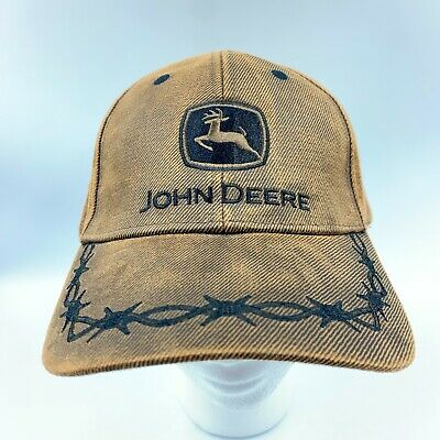 £19.73 • Buy John Deere Country Brown Oilskin Embroidered Wire Hat Cap Adjustable Adult Size