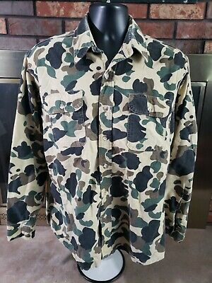 $38 • Buy Vintage Prentiss Outdoors Chamois Cloth Flannel Shirt Mens L Duck Camo Hunting