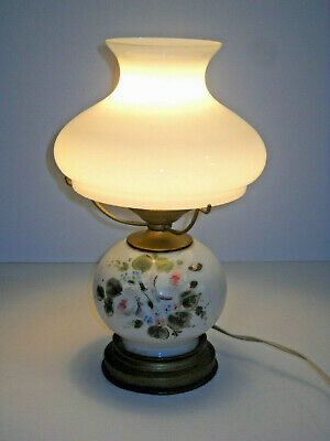 $24.99 • Buy VINTAGE Small HURRICANE LAMP Flowers Milk Glass HAND PAINTED For RESTORATION