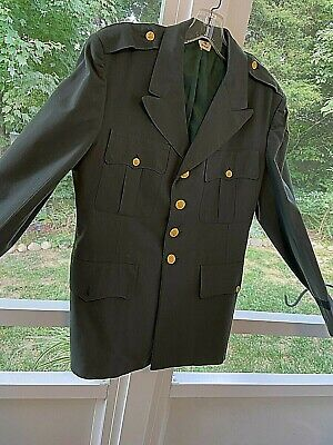 $19 • Buy Vintage US Army Officers Class A Military Green Uniform Dress Jacket Coat Pol/Wo