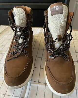 $140 • Buy Mens Coach High Top Shoes FG 4292 - Brown - Suede - Size 8D
