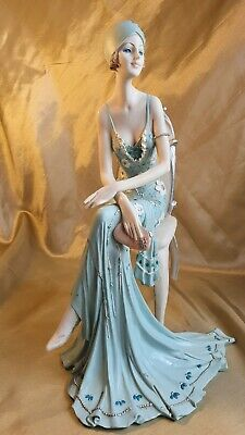 $ CDN60.59 • Buy Classic Sexy Lady Sitting Figurine On Chair Pose With Purse Broadway Belle Blue